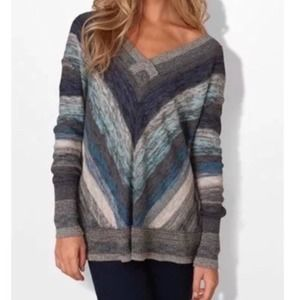 Free People Deep V Neck Chevron Sweater Pullover S